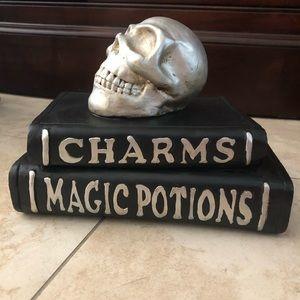 Skull magic books decor